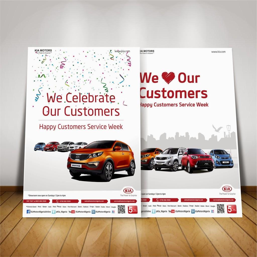 Recent work poster mock up print advert design a for Kia motors customer service